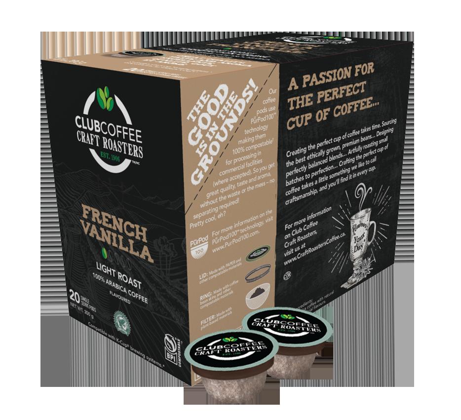 club coffee craft roasters french vanilla single serve coffee pods
